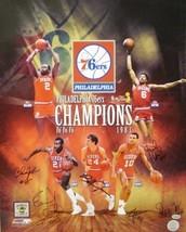 Philadelphia 76ers signed 16x20 Photo Collage 1983 NBA Champions w/ 6 Si... - £89.35 GBP
