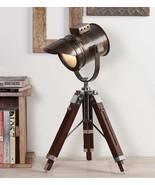 Antique Finish Vintage Wooden Tripod Table Lamp By NauticalMart - $250.00