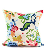 Modern Floral Accent Pillow Cover - Green Navy Blue Red Pink Tan - 20x20 - $43.00