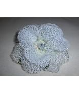 White Glittered Net Flower with Jewel Center Hair Clip Handmade - $4.95