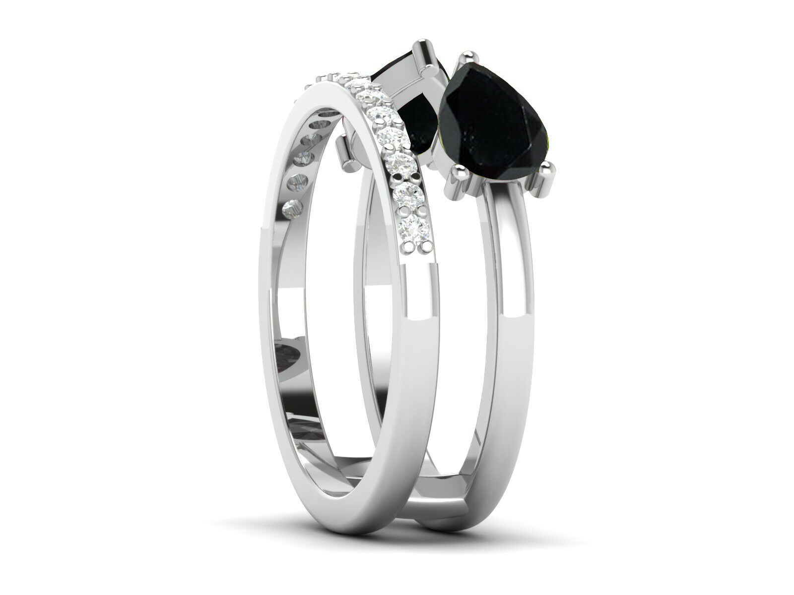 925 Sterling Silver Black Spinel Natural Zircon Eternity Stackable Unisex Ring
