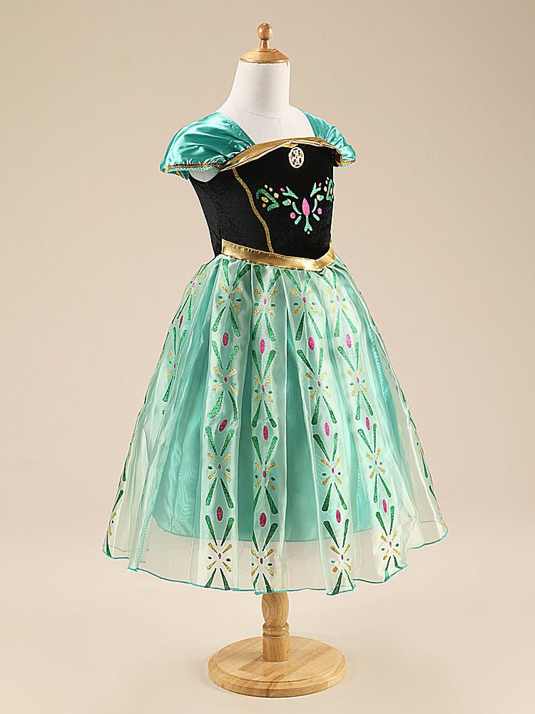 Tea Length Essar  Pricess Cosplay Dress Caped Sleeve Kids Party Gowns Halloween image 4
