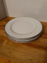 """Set Of 4 Gibson 7.5"""" Plates/ White with Silver Trim inner and outer rim/No chips - $19.54"""