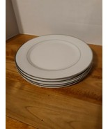 """Set Of 4 Gibson 7.5"""" Plates/ White with Silver Trim inner and outer rim/... - $19.54"""