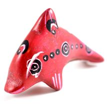 SMOLArt Hand Carved Painted Soapstone Red Miniature Dolphin Figurine Made Kenya image 5