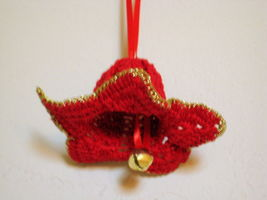"""Decor - Flower Ornament 2""""x3""""  red with gold trim bell and red ribbon Gi... - $5.95"""