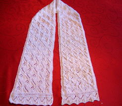 "Vintage Design Shawl - white- knitted - 7""x54"" Great Gift Idea  - $69.00"