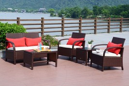 Patio 5 PC Rattan Wicker Sofa Set Cushioned Sectional Outdoor Garden Lov... - $369.98