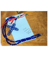Glass Cross and Blue Beads Necklace - $24.97