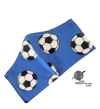 Kids Face Mask Soccer Balls Blue Sports Fitted Facemask Handmade USA - $13.50