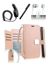 LG Q7 / Q7 Plus Blister Rose Gold Flip Flap Pouch Magnetic Wallet Case Cover - $12.99