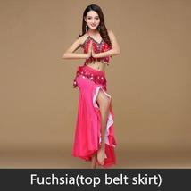9 Colors Professional Belly Dancer Sequin Beaded Outfits Bra Belt Skirt image 12