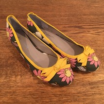 Anthropologie Shoes Laura Brandon Daisy Ballerinas Sz 6 Canvas Flats Flo... - $49.99