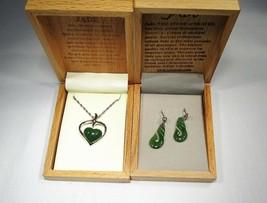 Sterling Silver & Jade Heart Pendant Necklace w/ Jade Earrings Set C2388 - $34.74