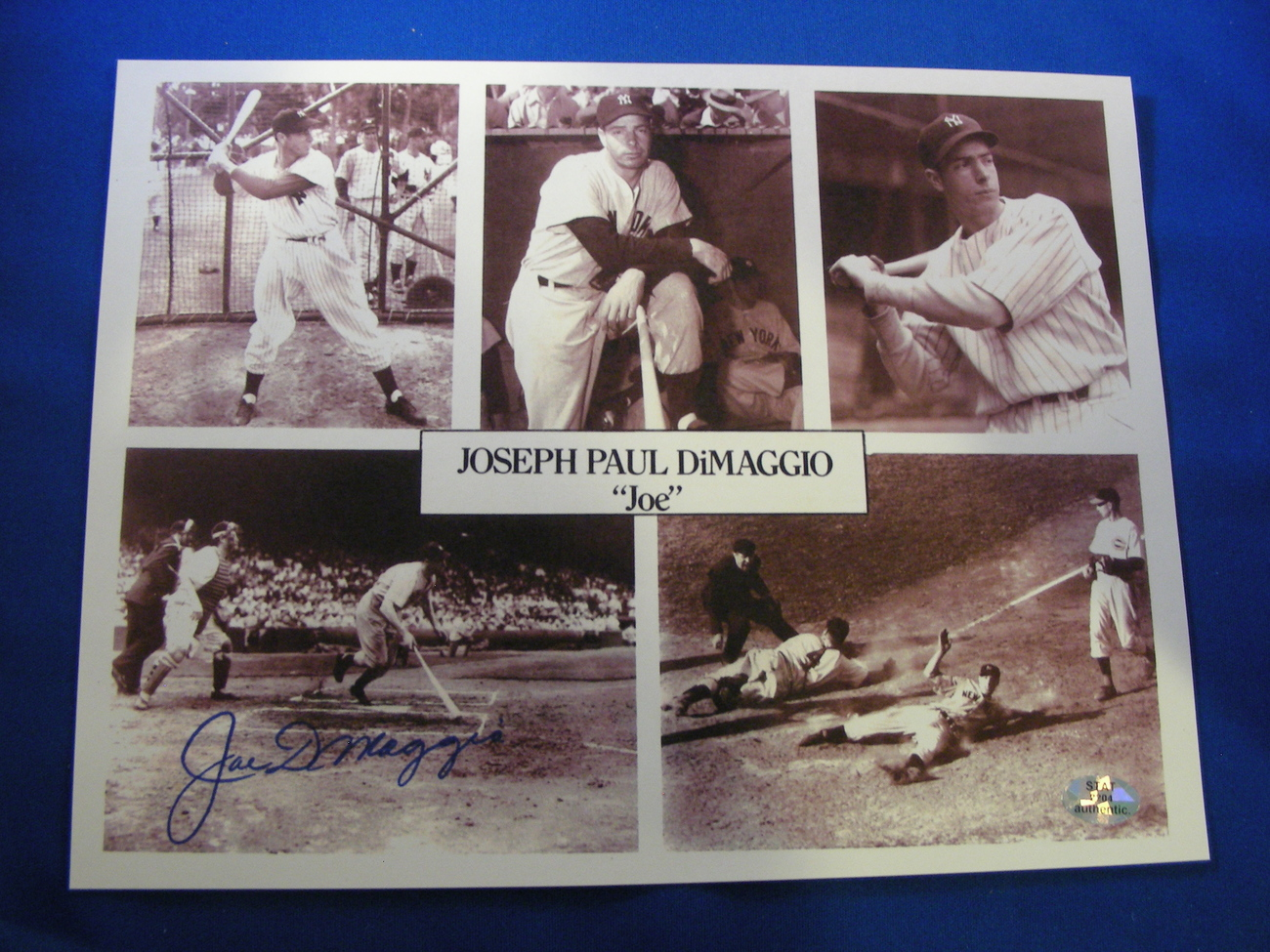 Primary image for JOE DIMAGGIO HOF 1955 56 GAME HITTING STREAK SIGNED AUTO 8X10 PHOTO STAT & SB AU