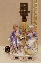 VINTAGE GERMAN PORCELAIN LAMP FANCY MAN & LADY DESIGN - $98.99