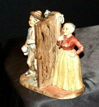 Man and Woman Figurine with God Bless Our Home AA19-1652 Vintage image 4