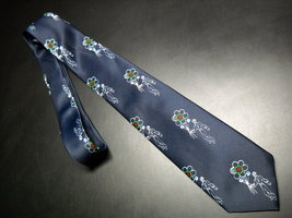 Giovanni Neck Tie Repeating Balloon Vendors with Floral Balloons on Dark Blue - $10.99