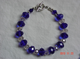 Royal Blue and Clear Swarovski Crystal Bracelet - Free Shipping - $29.99