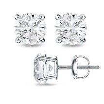 0.60CT F/VS2 Round Cut Genuine Diamonds 14K Solid White Gold Studs Earrings - $390.49