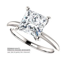 14K Gold (7mm) 2.00 Carat Moissanite Princess Square Solitaire Ring - $799.00