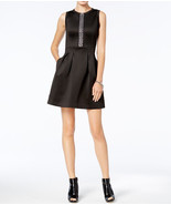 $125  Michael Kors Embellished Front-Zip Dress Black S - $92.95