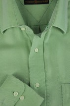Tommy Hilfiger Men's Fern Green Large Herringbone Cotton Casual Shirt M ... - $19.12