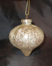 "Gold Ornament Glass Christmas Trees Glittery Trees Snow 3.5"" High Froste... - $12.86"