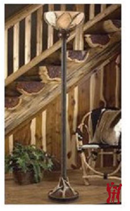 Deer Antler Torchiere Floor Lamp Alibaster Globe Whitetail Rustic Cabin Lodge