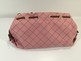 "Dooney & Bourke Pink Logo Canvas Purse With Brown Leather Strap 14"" x 8"" - $49.99"
