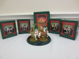 HALLMARK COMPLETE SET of 5 ~ CAROUSEL STAND & 4 HORSES in BOXES ~ MINT - $40.00