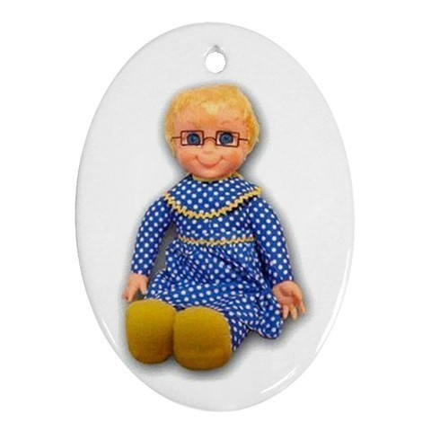 Mrs Beasley Doll Oval Porcelain Christmas Ornament Blue Skies Plus LLC