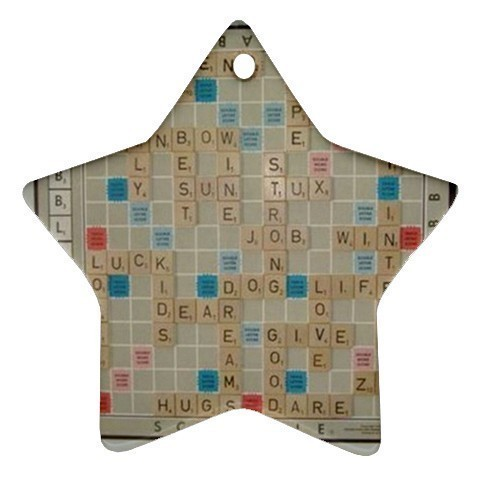 Scrabble Game Star Shaped Porcelain Christmas Ornament Blue Skies Plus LLC