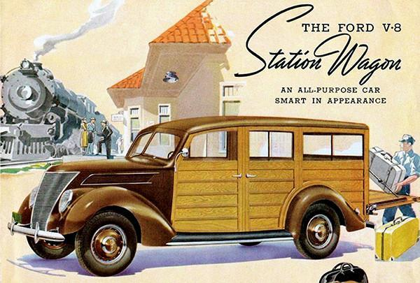 Primary image for 1937 Ford V-8 Woody Station Wagon - Promotional Advertising Poster