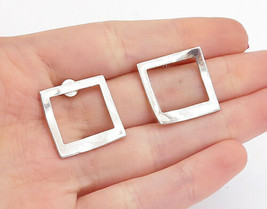 LORU 925 Silver - Vintage Modernist Shiny Open Square Drop Earrings - E8848 - $29.28