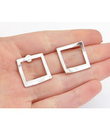 LORU 925 Silver - Vintage Modernist Shiny Open Square Drop Earrings - E8848 - $29.28