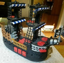 Fisher Price Toy Imaginext Black Red Pirate Ship Blue & White Sails Boat 2006 - $35.79
