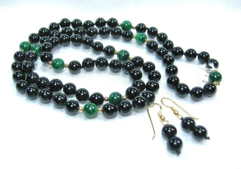 Primary image for HANDCRAFT Gems onyx Malachite Necklace Earring set 30""