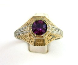 Vintage PURPLE RING Rhinestone 18K Gold Electro Plate  Intricate Raised ... - $14.99