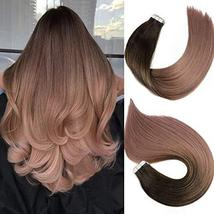 Tape In Hair Extensions Human Hair Balayage Ombre Hair 20pcs/50g Per Set Dark Br image 2