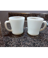 2 Vintage Fire King Anchor Hocking White Milk Glass Coffee Mugs Cups D-H... - $8.00