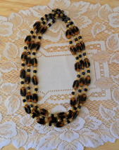 Necklace Tiger/Tortoise 3 Strand Glass Bead - $74.95