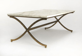 Horchow Antique Gold White Marble Rectangular Coffee Table French Modern - €703,18 EUR