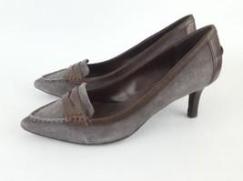 LRL Lauren Ralph Lauren Penny Loafer Pumps gray suede brown womens 7.5B - $28.05