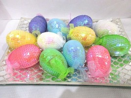 "EASTER EGGS SEQUINS HANGING EGG ORNAMENTS 3"" DECOR SET OF 12 - $19.99"