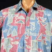 Cooke Street Honolulu Hawaiian Aloha Shirt Mens XL RP Fish Red Blue Gree... - $23.36