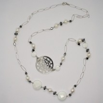 1 MT Long Necklace in Silver 925 with Hematite Agate and Pearls Made in Italy image 1