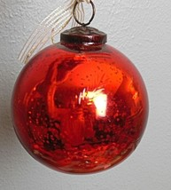 "Ruby Red  Molded Mercury Glass Ornament Etched Garland 4"" Klugel - $15.00"