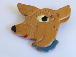VTG 1940s Hand Carved handpainted Wood Deer head Pin Brooch - $30.89