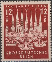 1943 City of Lubeck Germany Postage Stamp Catalog Number B249 MNH